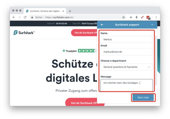 Surfshark kündigen: Fülle Deine Daten aus