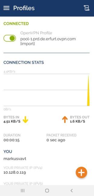 Die VPN Verbindung ist hergestellt