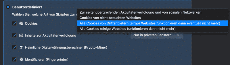 Firefox Cookie Einstellungen