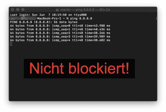 8.8.8.8 nicht blockiert