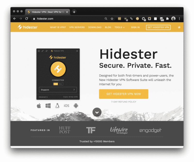 Hidester VPN Webseite