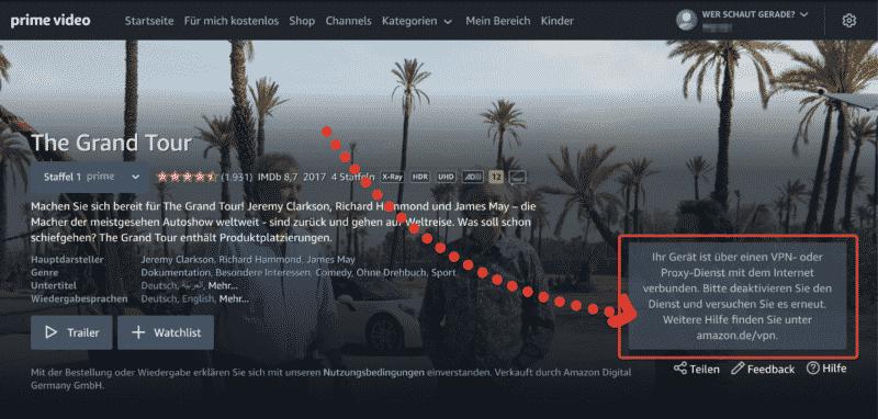 NordVPN wird bei Amazon Prime Video blockiert