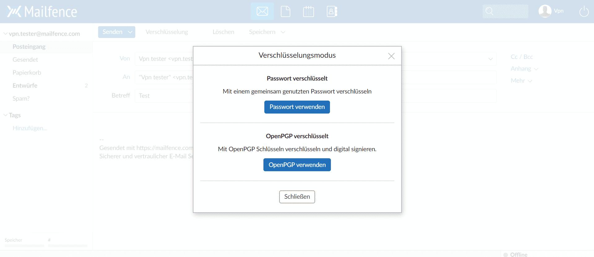 Mailfence Passwort oder OpenPGP