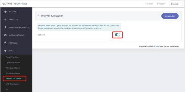 Killswitch am Gl-iNet Router verwenden