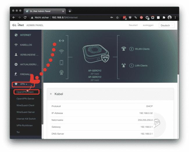 Gehe auf VPN und auf OpenVPN-Client