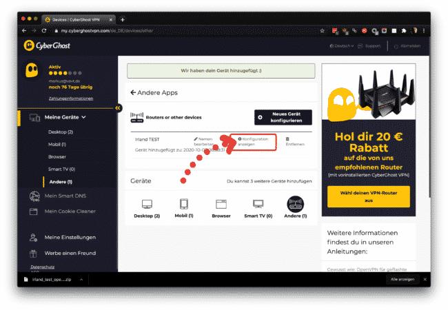 Anleitung: CyberGhost mit OpenVPN am ASUS verwenden 12