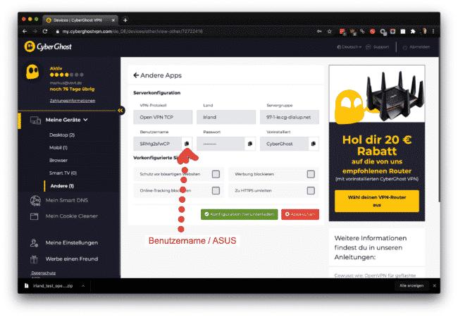 Anleitung: CyberGhost mit OpenVPN am ASUS verwenden 13