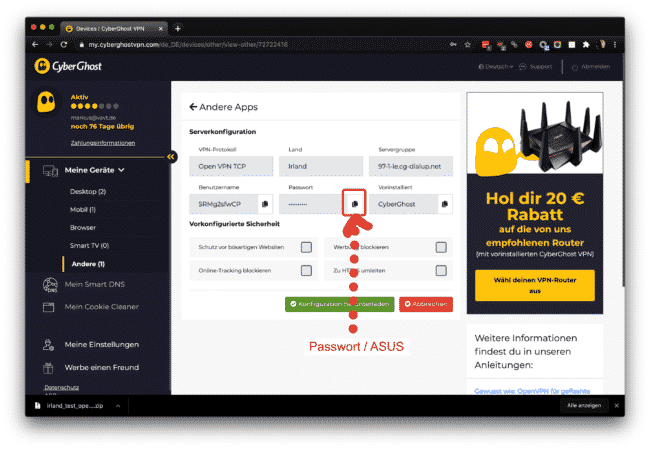 Anleitung: CyberGhost mit OpenVPN am ASUS verwenden 14