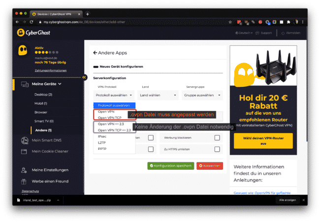 Cyberghost Auswahl OpenVPN 2.4 oder 2.3