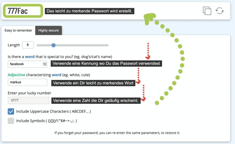 Einfaches Passwort erstellen