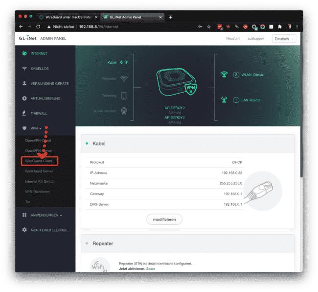 Anleitung: OVPN mit Wireguard auf Gl-iNet Router einrichten 7