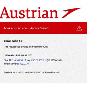 Austrian Airlines blockiert VPN Services