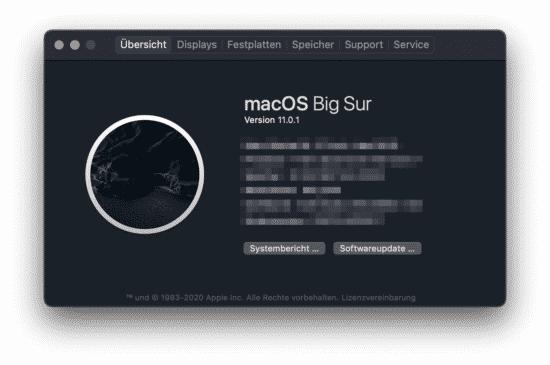 MacOS Big Sur V 11.0.1
