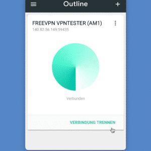 FREEVPN Outline Client - verbunden