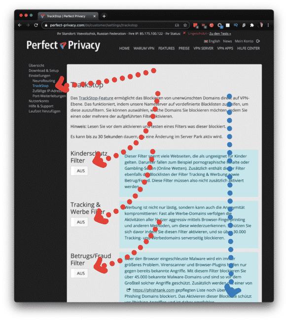 Perfect Privacy VPN Trackstop aktibieren