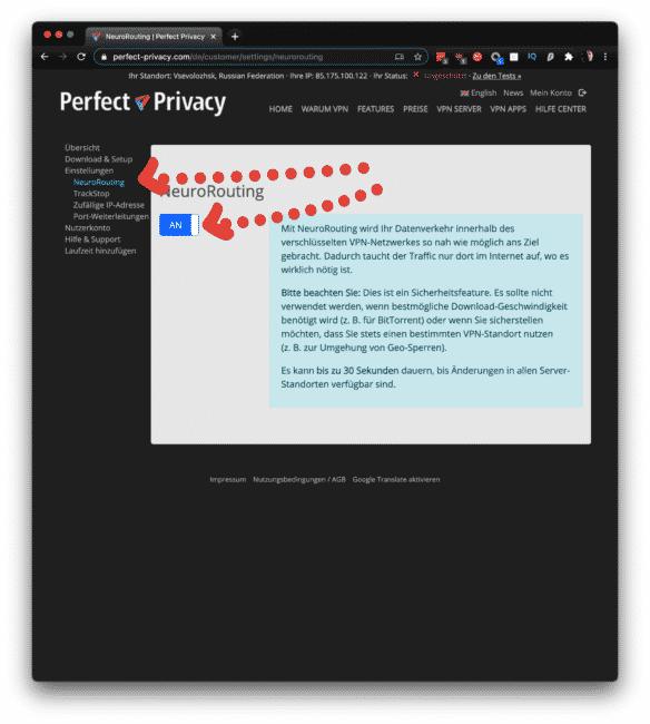 Perfect-Privacy Neurorouting aktivieren