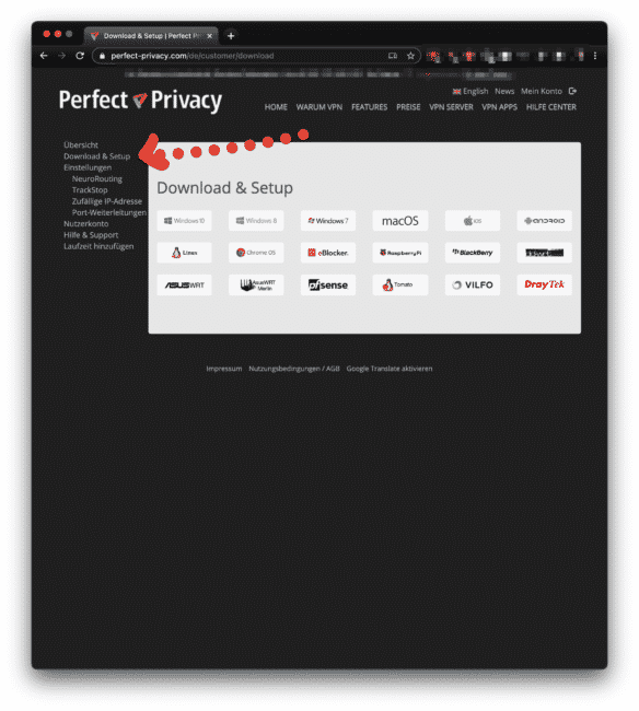 Perfect Privacy VPN Software laden
