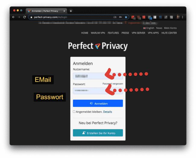 Perfect-Privacy Kundenbereich anmelden