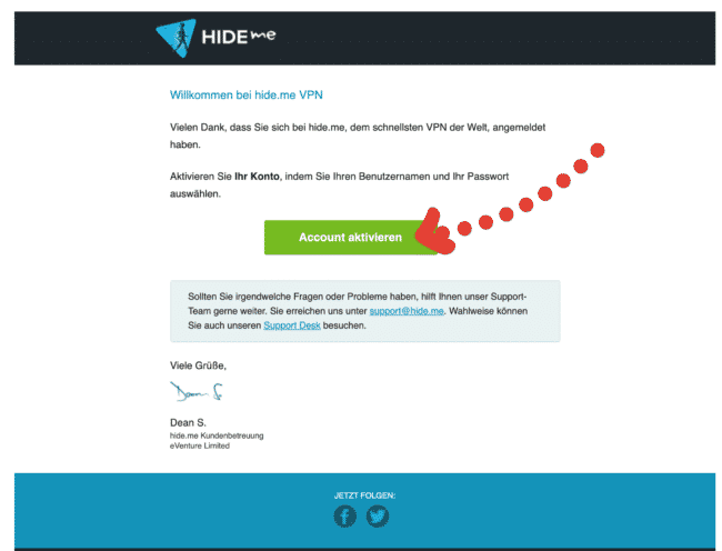 hide.me VPN EMail empfangen