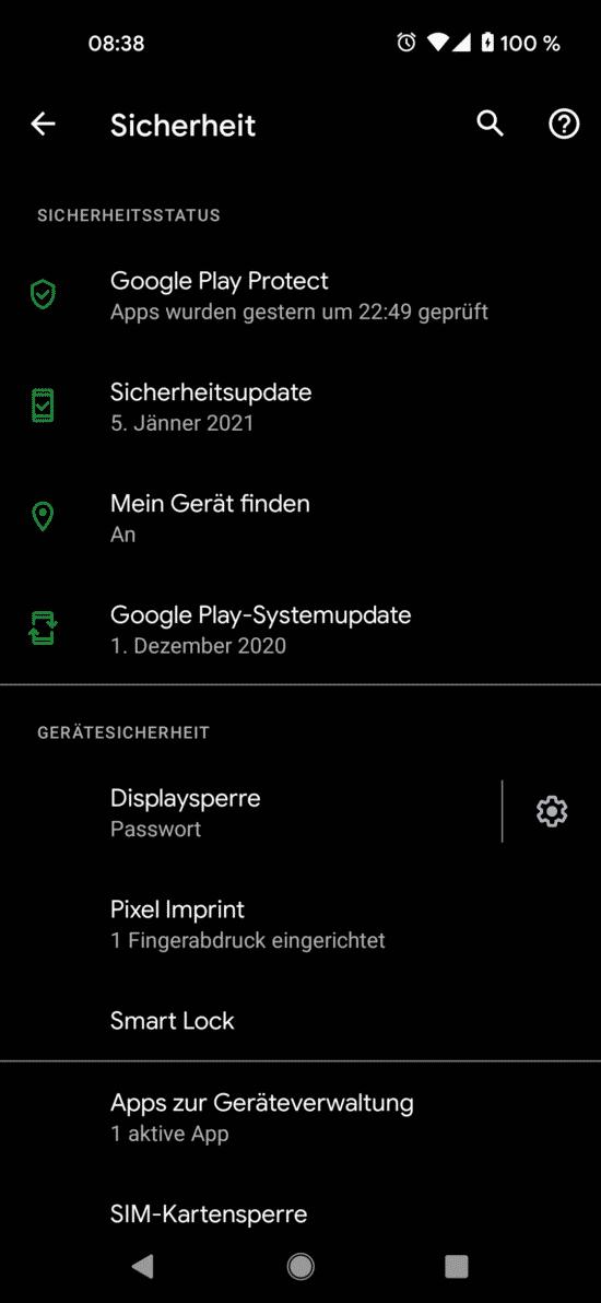 Android Update Jänner 2021