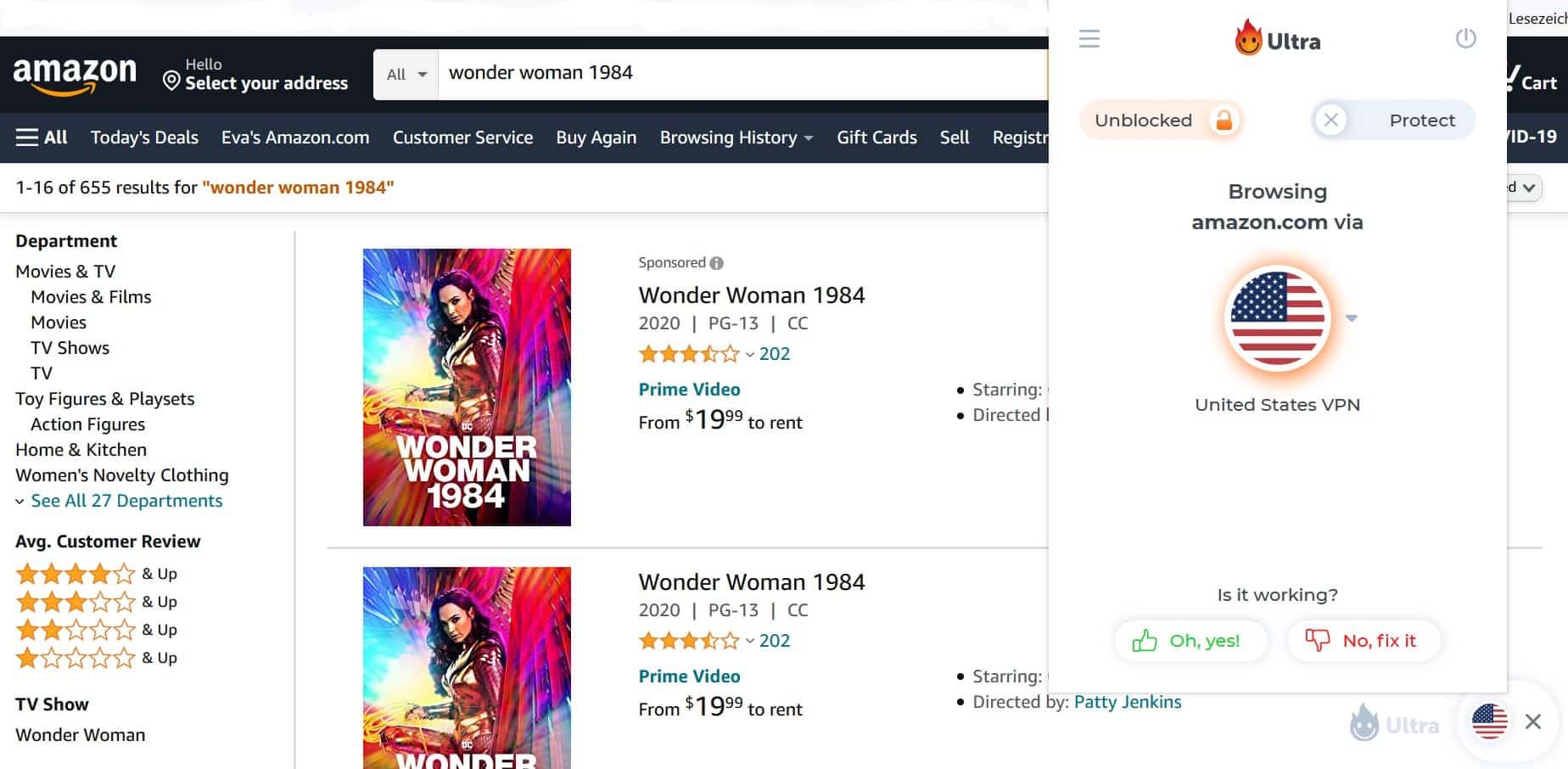 Wonder Woman 1984 US Amazon