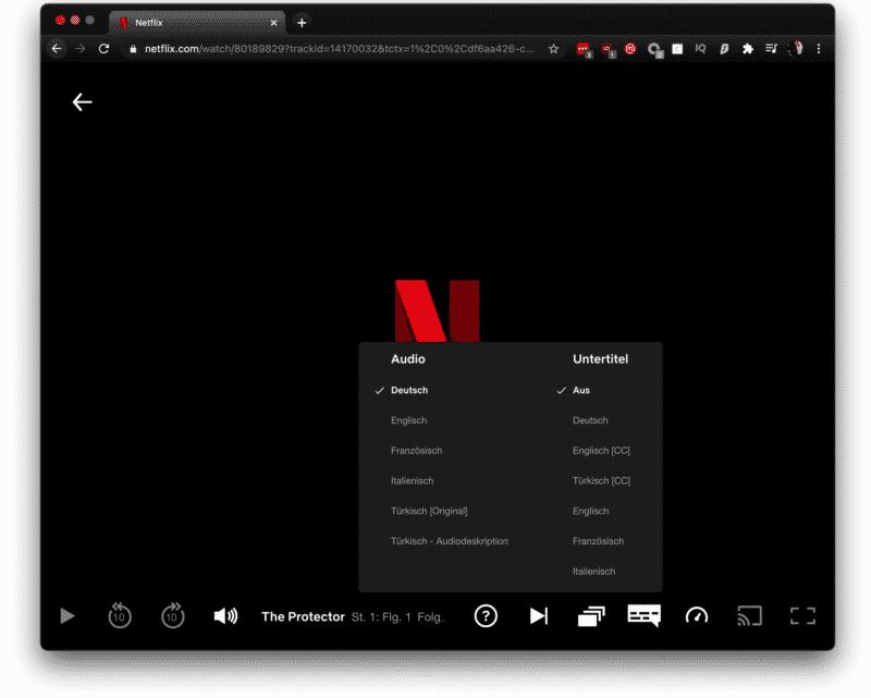 Netflix Spracheinstellungen am Video