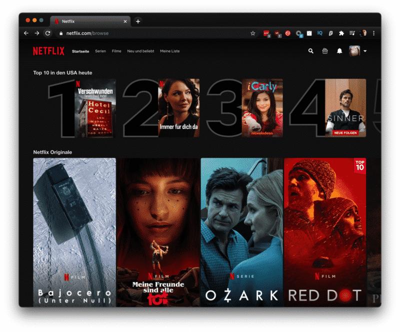 Netflix TOP Film Ergebnisse aus der ganzen Welt auch in Deutsch