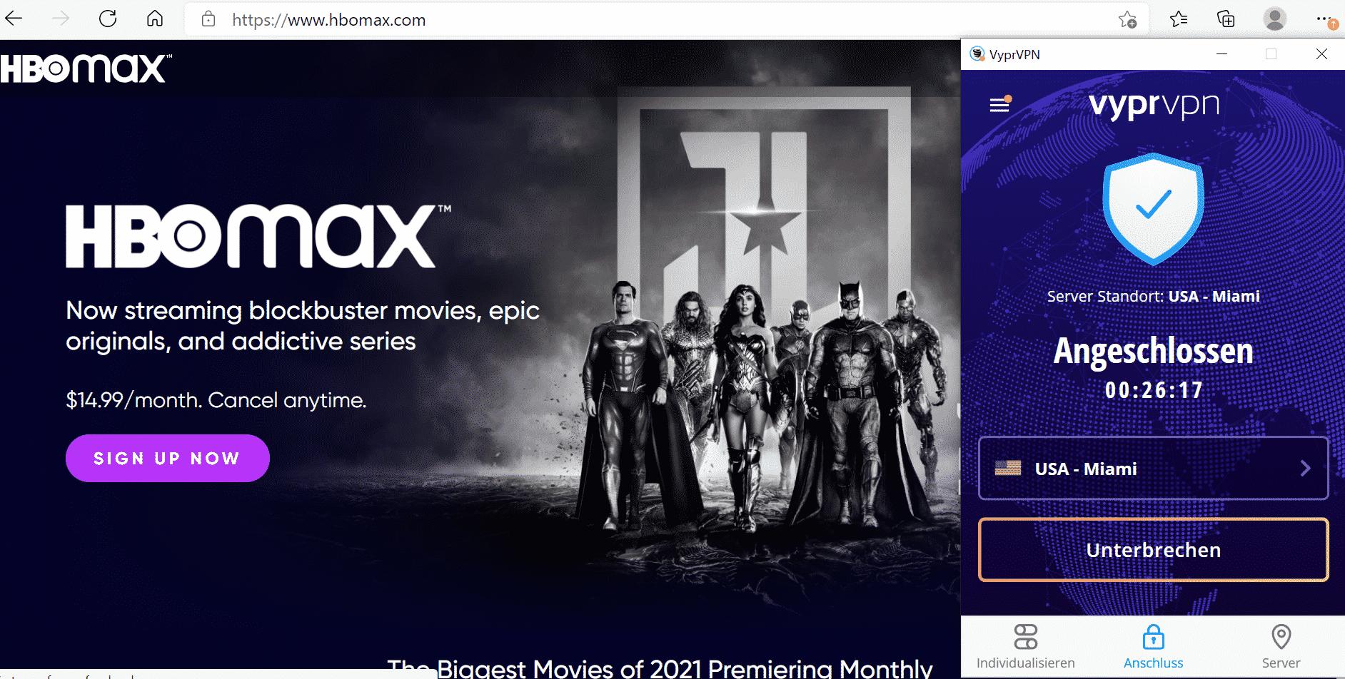 HBO Max mit VPN