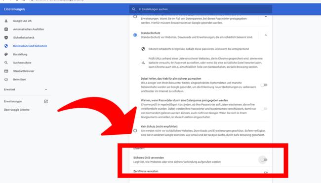 DNS over https - Google Chrome Browser 02