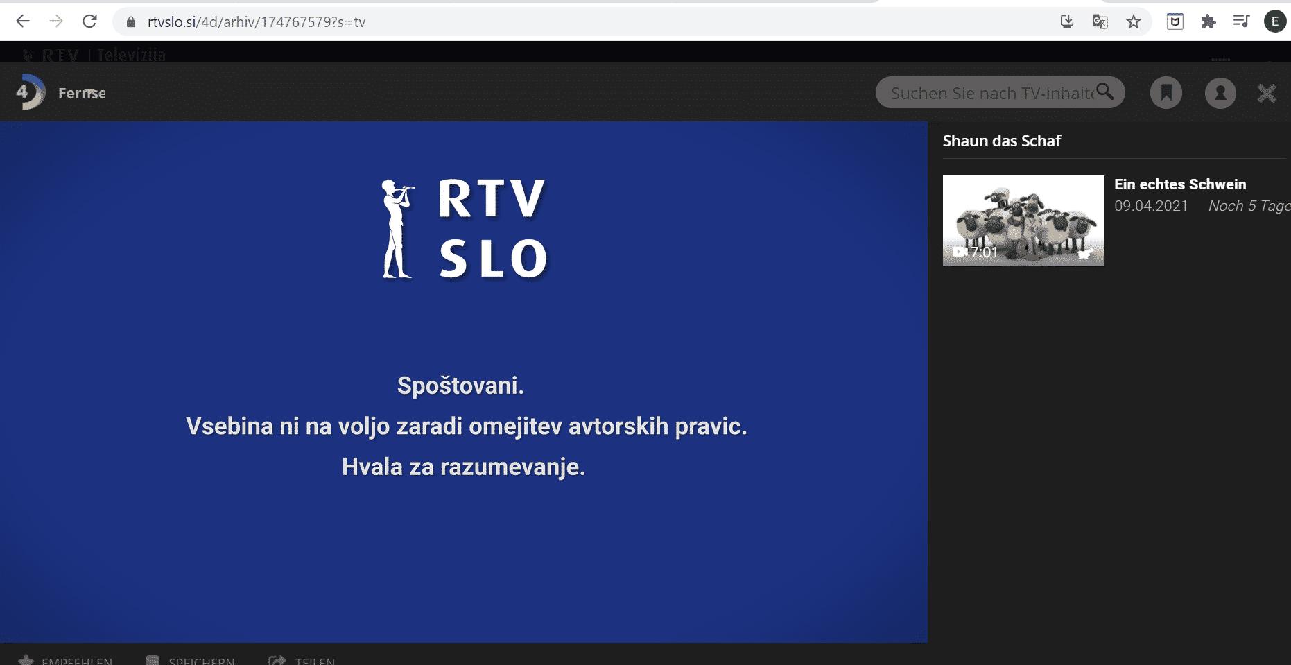 Slowenisches TV im Ausland streamen - Fehlermeldung