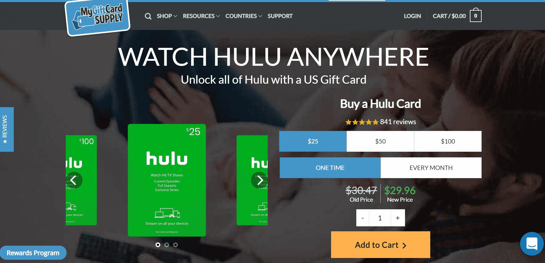 Hulu Deutschland mit Gutscheinkarte