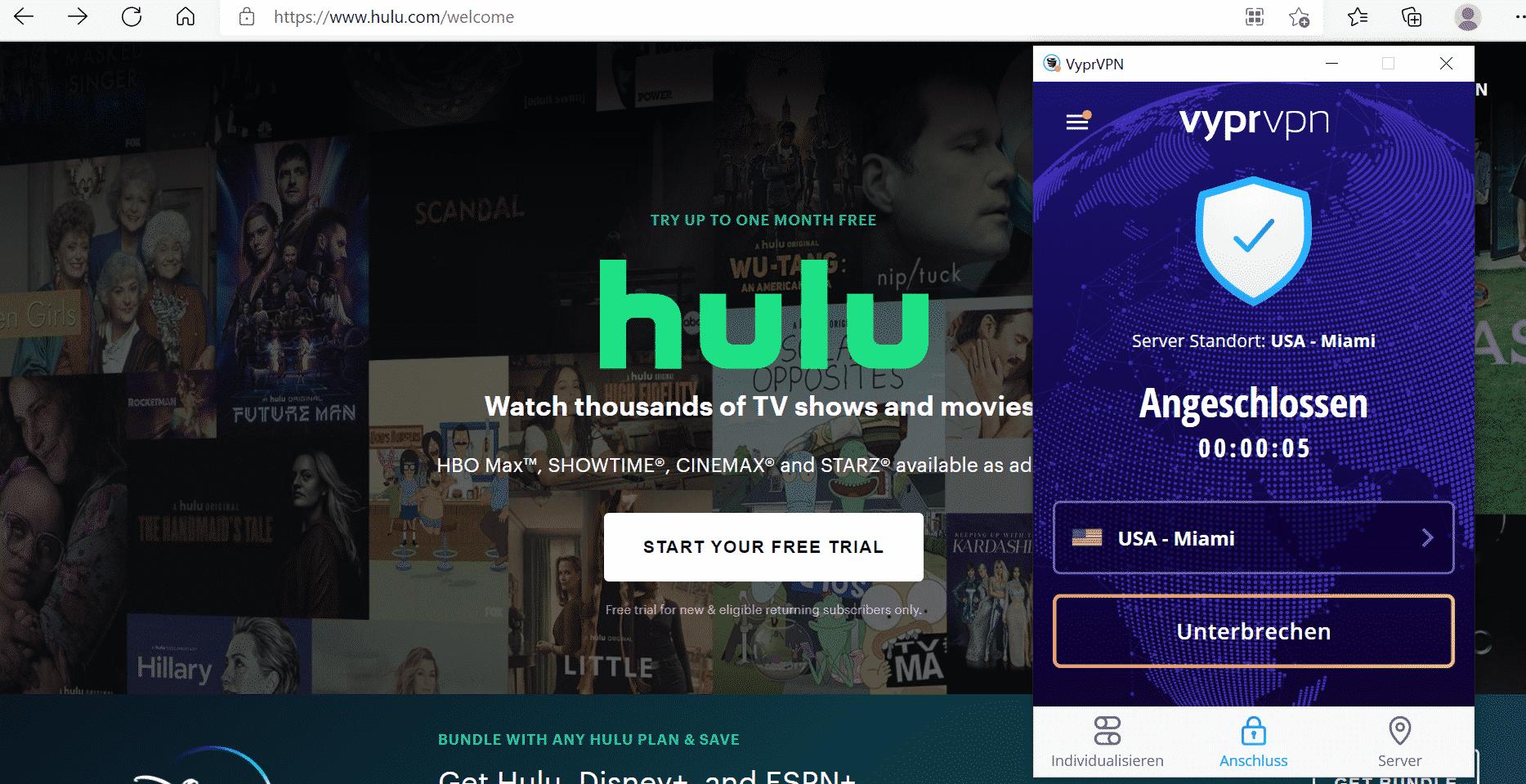 Hulu Deutschland mit VyprVPN