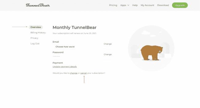 TunnelBear kündigen 1