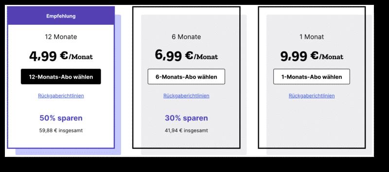 MozillaVPN Preise