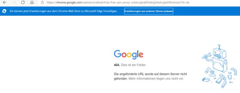 Hola VPN Erweiterung blockiert