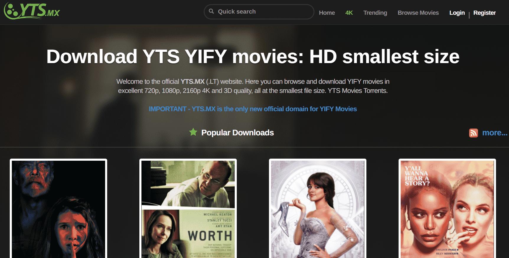 YTS mx Startseite