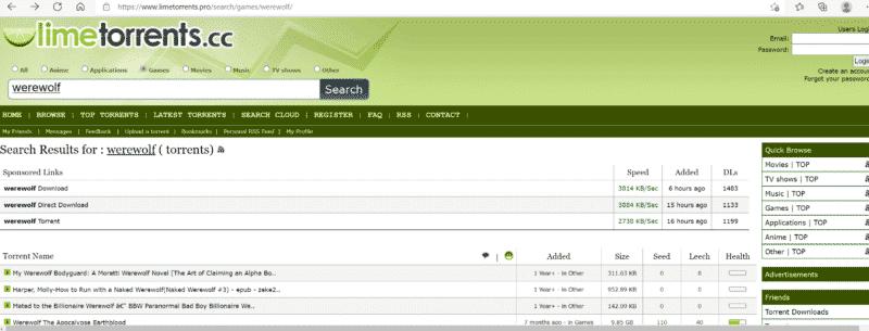 LimeTorrents Suche