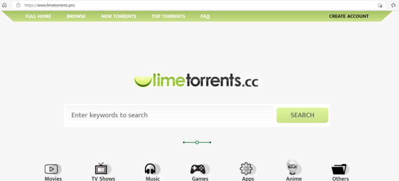 LimeTorrents Startseite